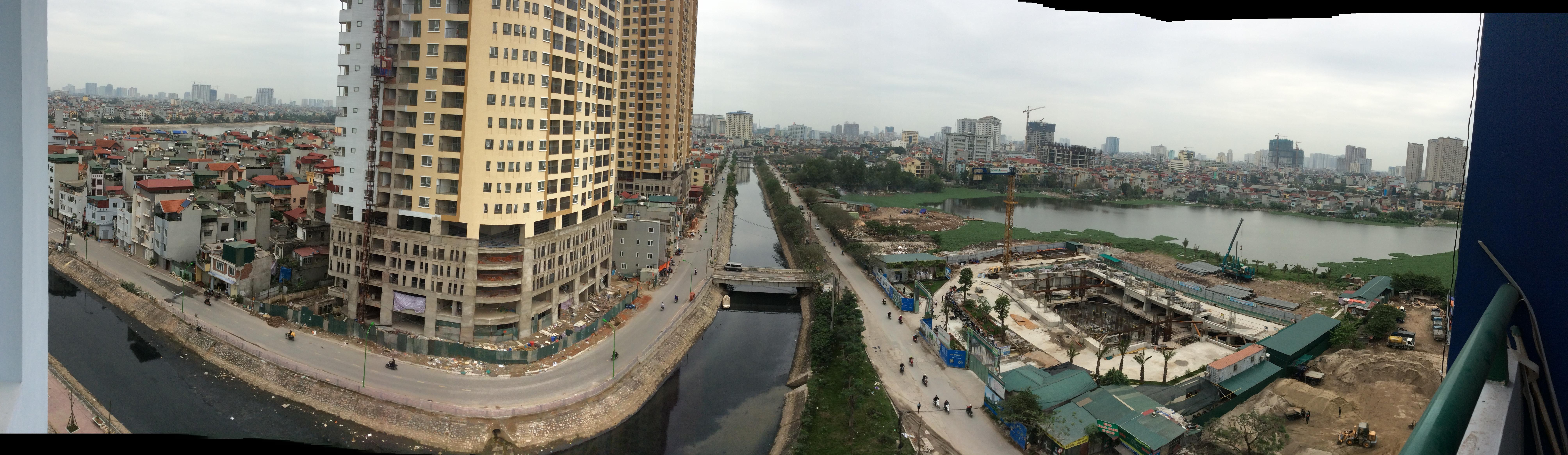Toàn cảnh khu vực trước sông sau hồ. Đối diện là 2 tòa CT36 cao 25 tầng
