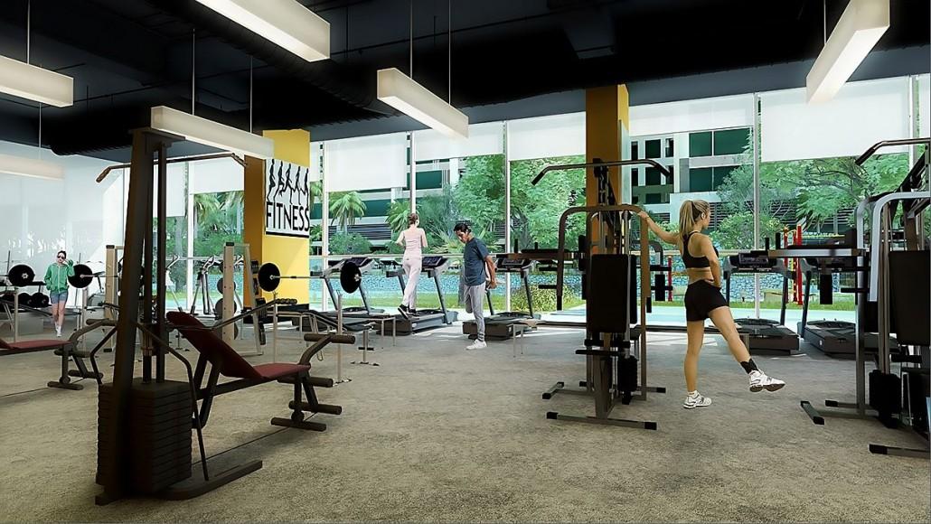 Phòng tập Gym rèn luyện sức khỏe bố trí tầng 2 Chung cư Smile Building