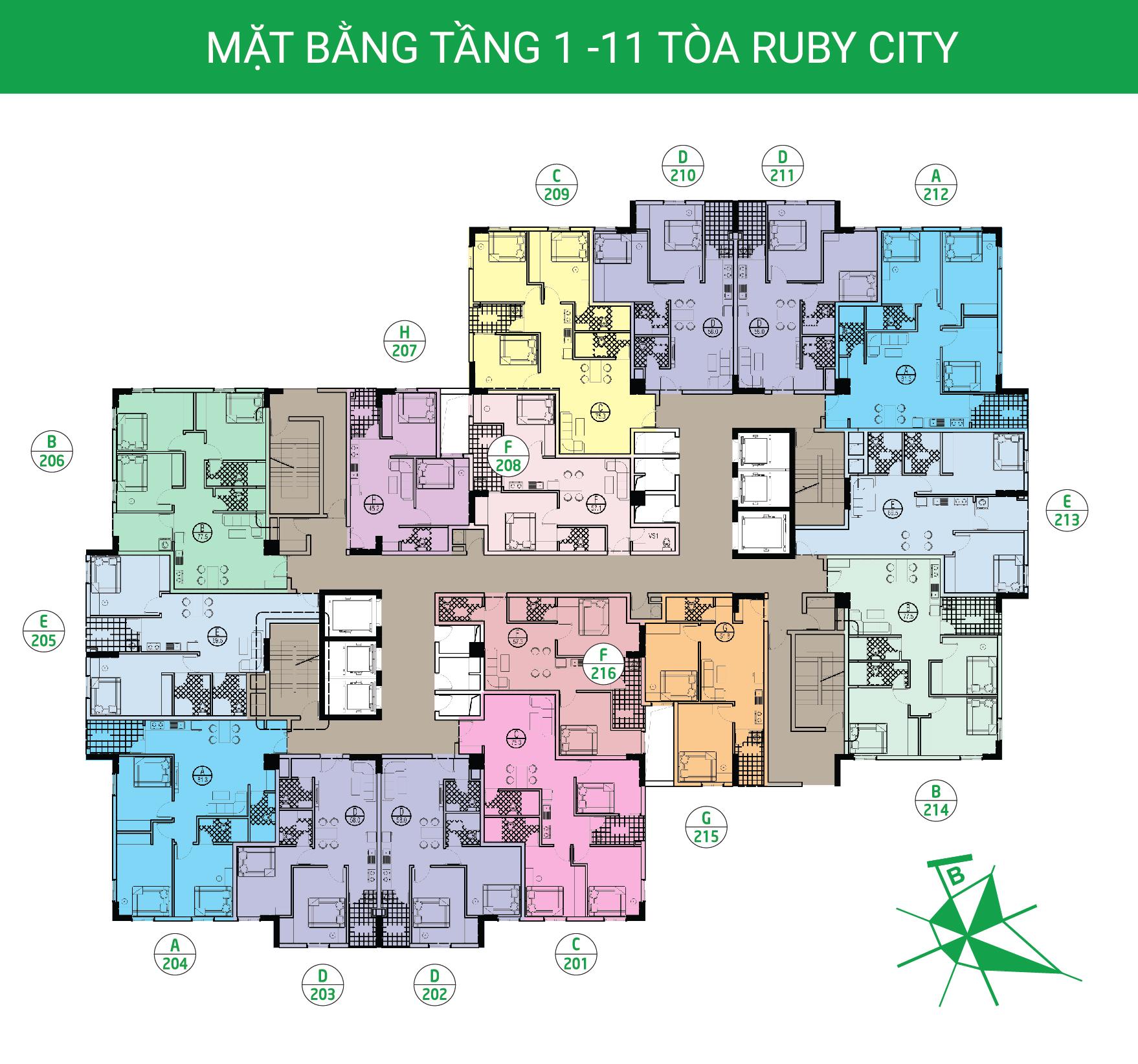 Mặt bằng điển hình chung cư Ruby City Việt Hưng