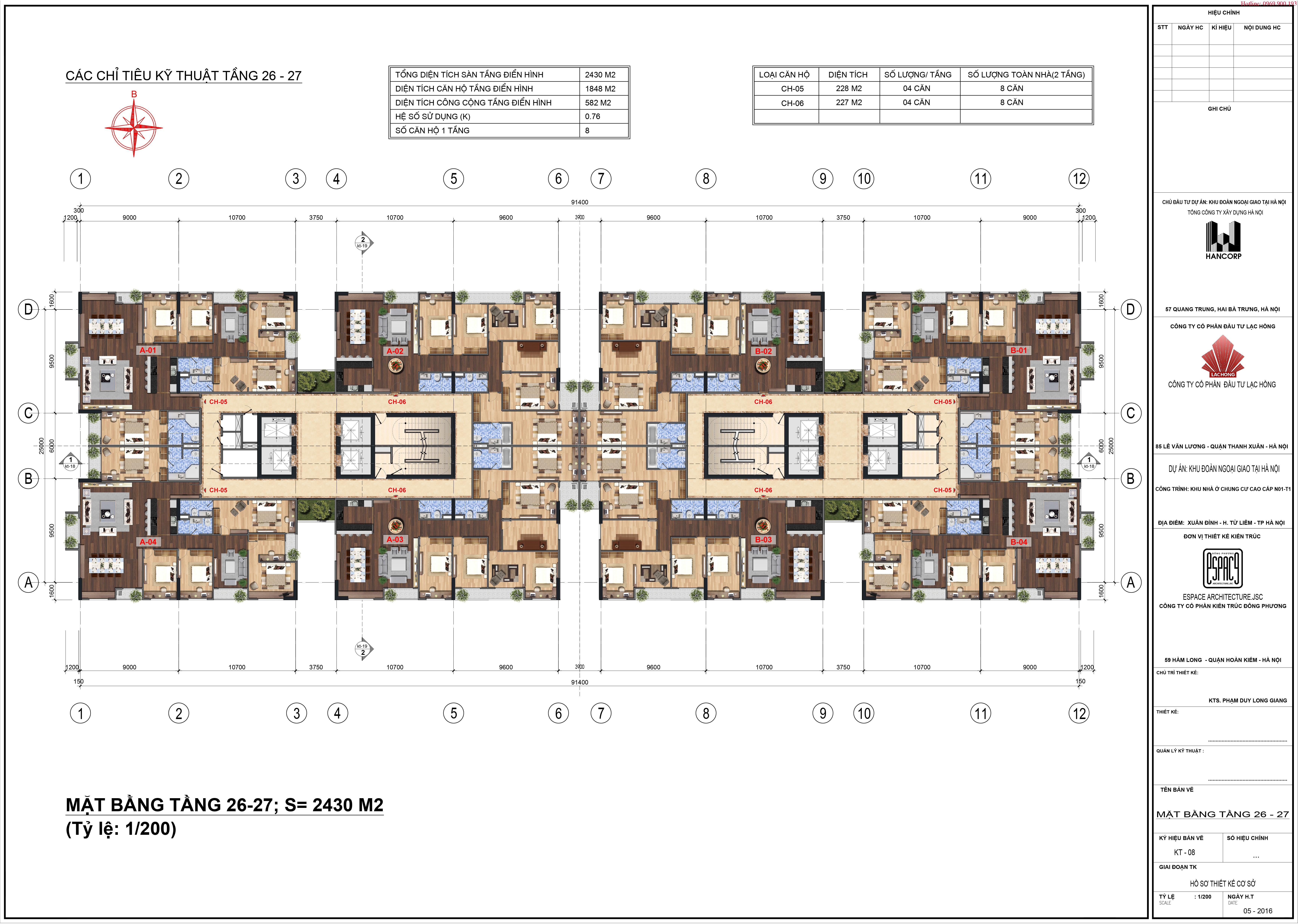 Mặt bằng Lạc Hồng Lotus 2 tầng 26~27