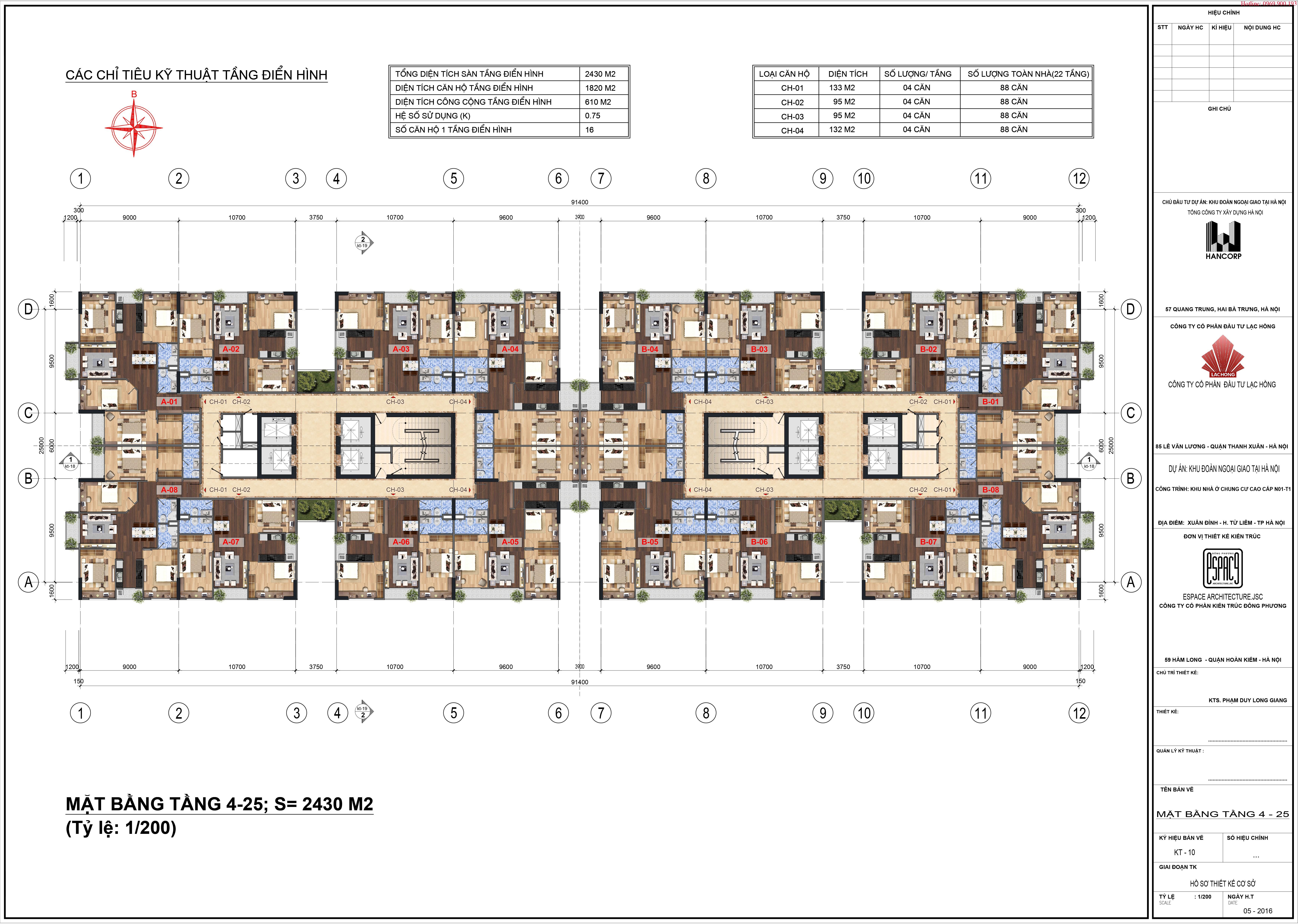 Mặt bàng Lạc Hồng Lotus 2 Tầng 4~25