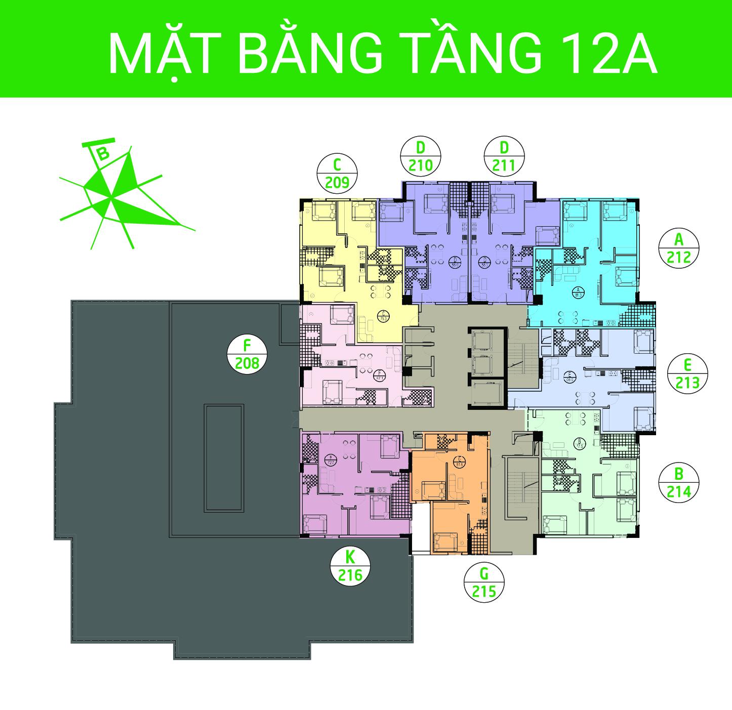 Mặt bằng tầng 12a - Chung cư Ruby City Việt Hưng