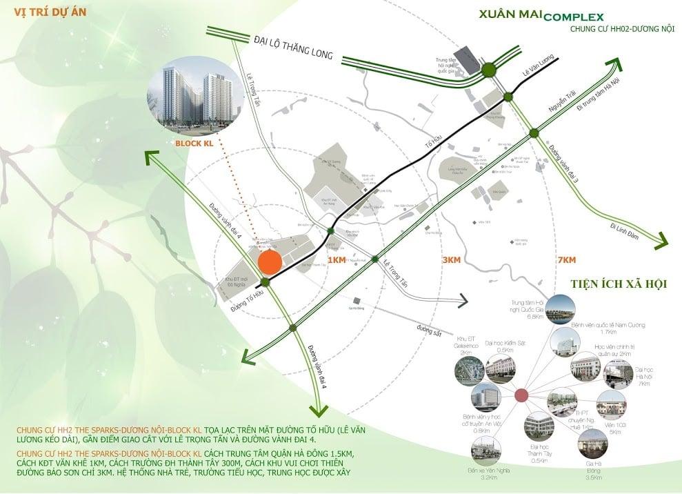 Chung cư Xuân Mai Complex sở hữu vị trí tuyệt vời mặt đường Tố Hữu