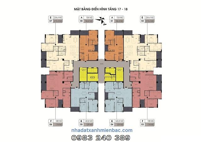 Mặt bằng điển hình tầng 17 và 18 chung cư Northern Diamond