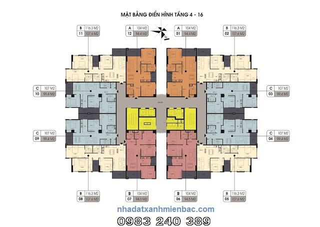 Mặt bằng điển hình tầng 4 đến tầng 16