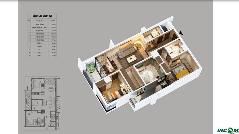 Phối cảnh căn hộ 99.4 m2 Chung cư Northern Diamond Incomex