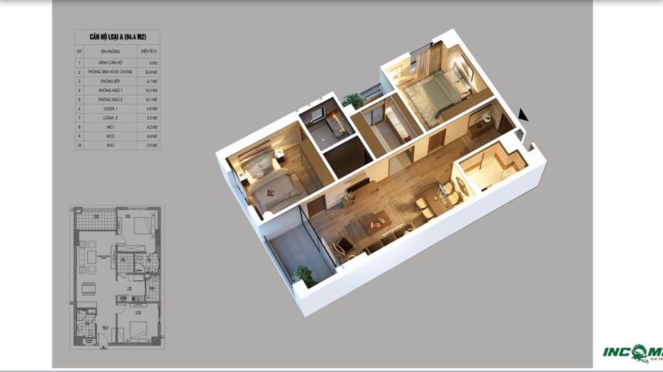 Phối cảnh căn hộ 94.4 m2 Chung cư Northern Dimond Incomex