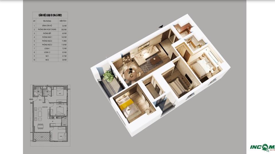 Phối cảnh căn hộ 94.5 m2 Chung cư Northern Diamond Incomex