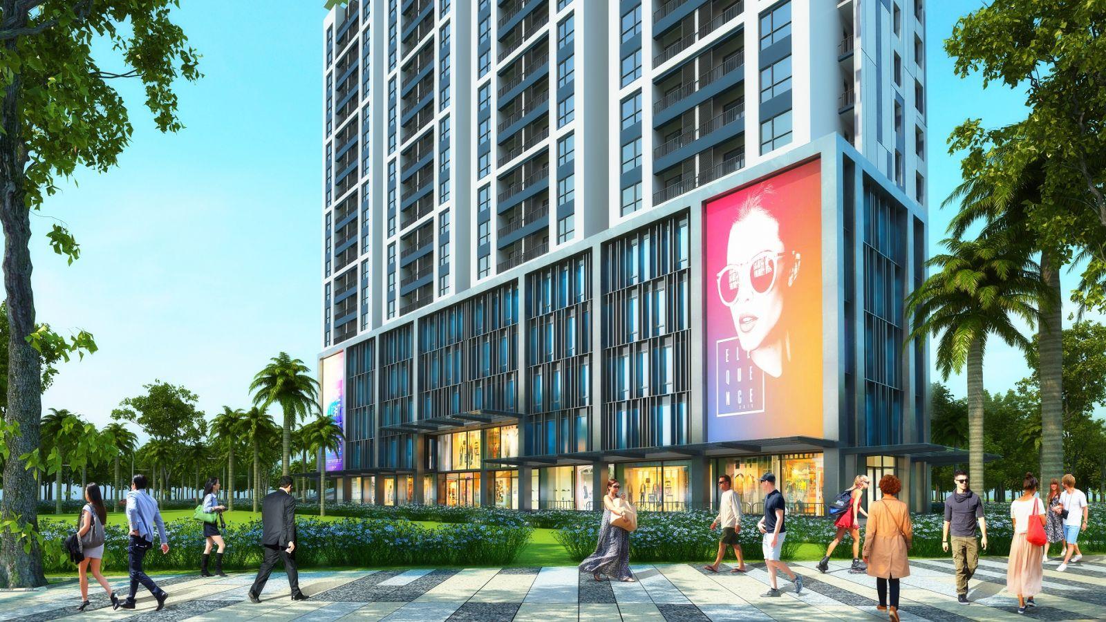 Khối đế là Trung tâm thương mại lớn của Tòa Văn Phòng Northern Diamond Long Biên