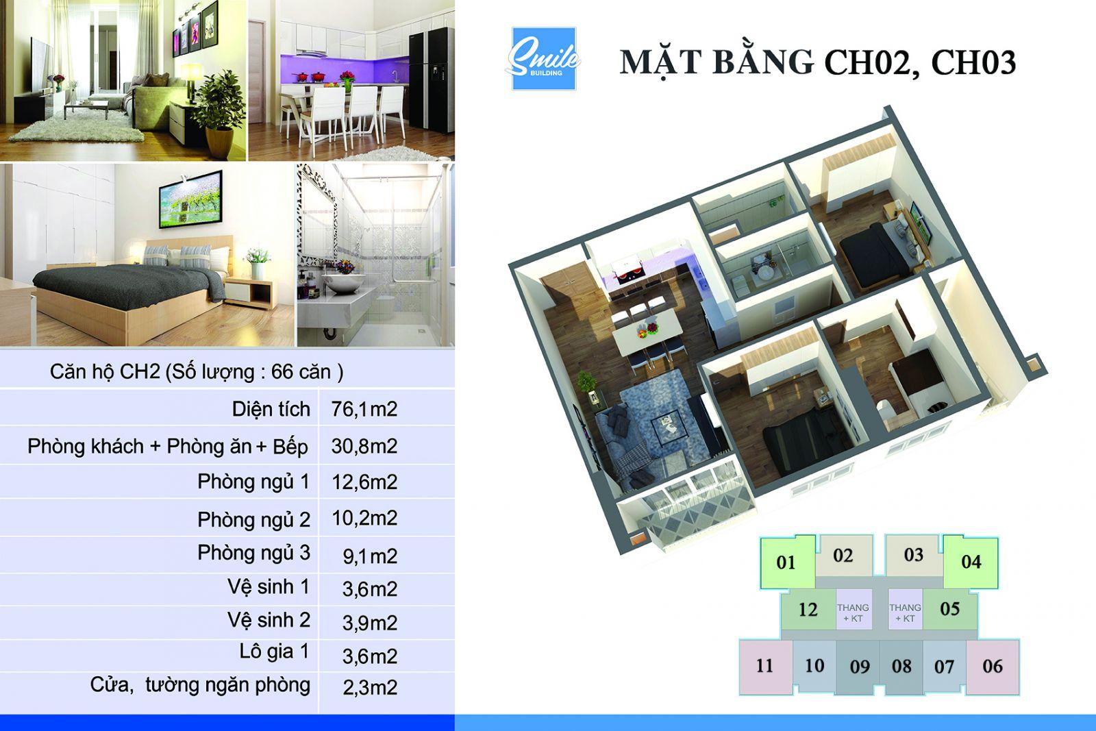 Phối cảnh căn hộ số 02 và 03 Dự án Chung cư Smile Building