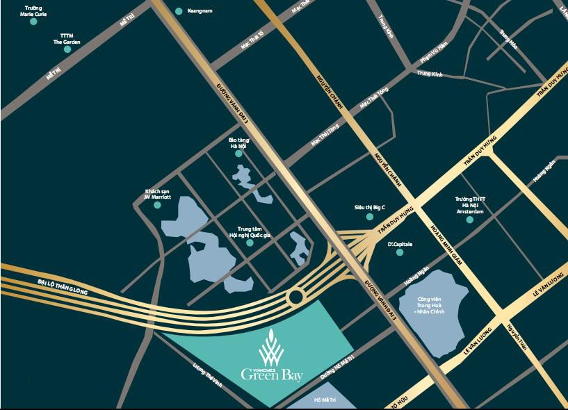 Vị trí tọa độ Vàng - điểm đầu Đại lộ Thăng Long, đối diện Trung Tâm Hội Nghị Quốc Gia