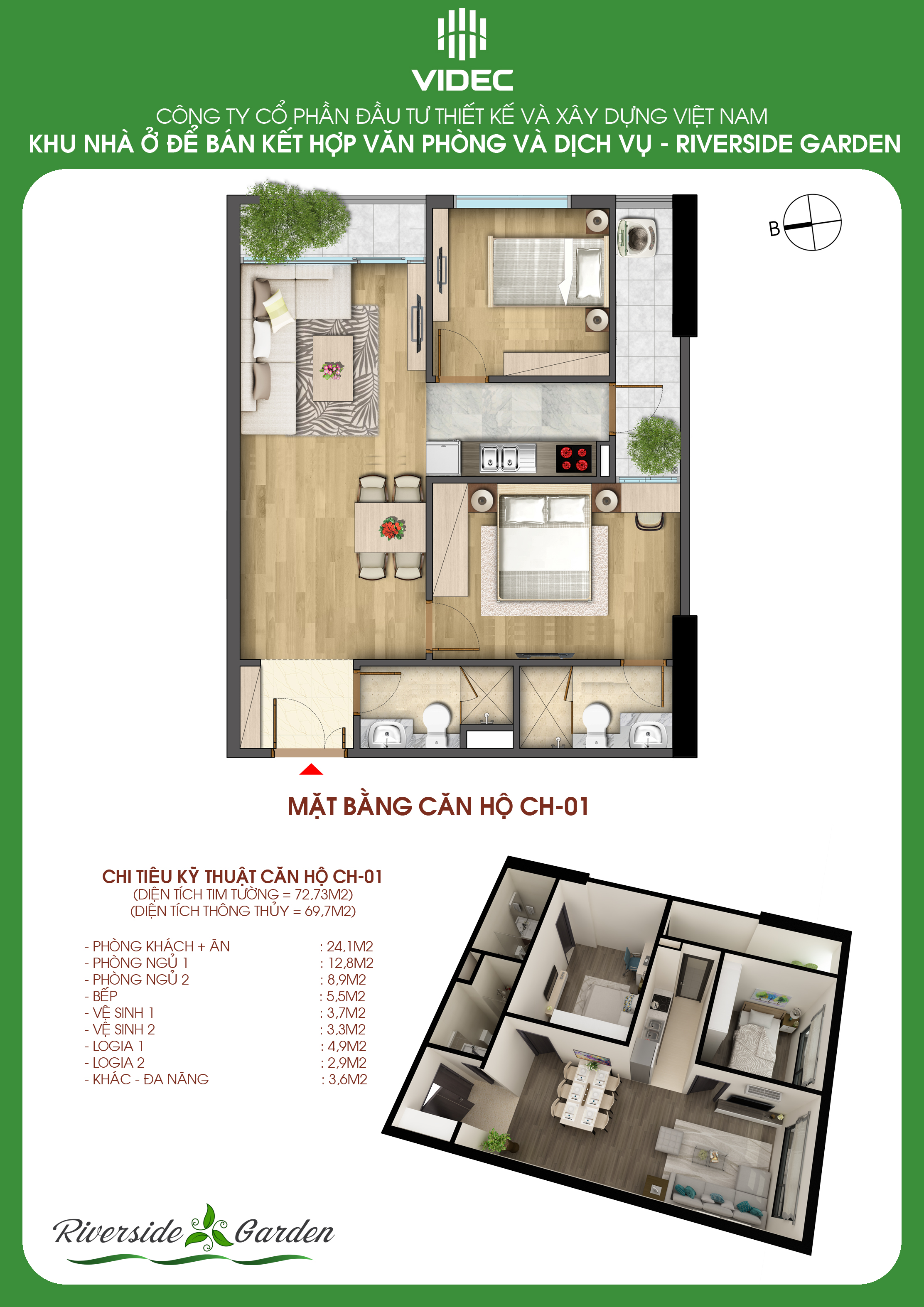 Căn hộ 2 phòng ngủ vuông thành sắc cạnh, đẹp nhất Hà Nội