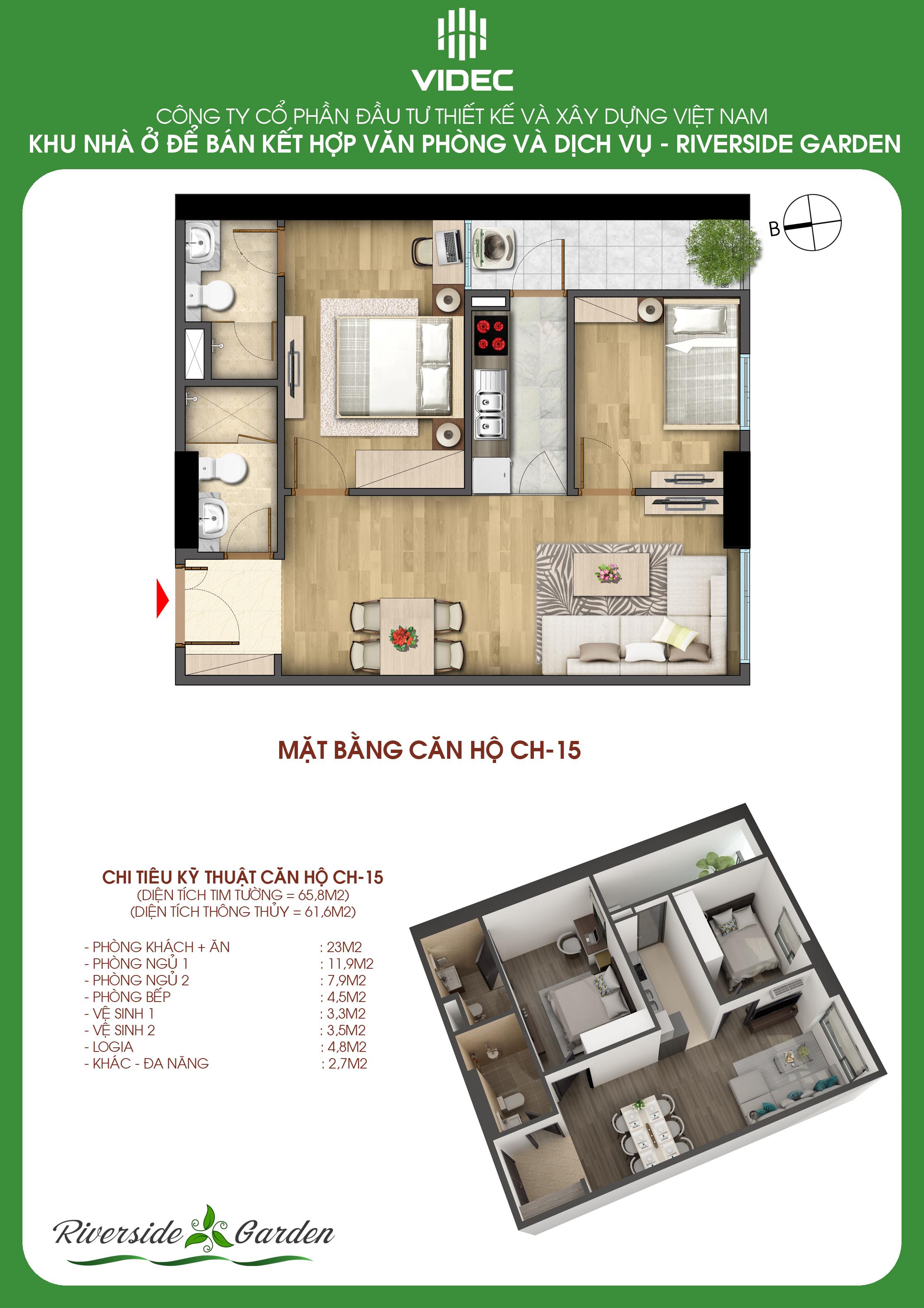 Căn hộ 2 phòng ngủ 61.6m2 xinh đẹp