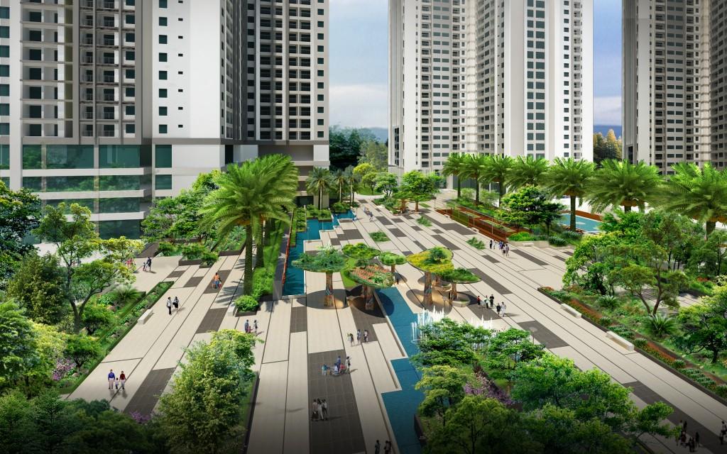 Quảng trường trung tâm hoành tráng và xanh mát