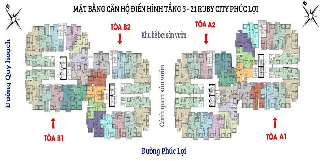 mặt bằng Chung cư Ruby City CT3