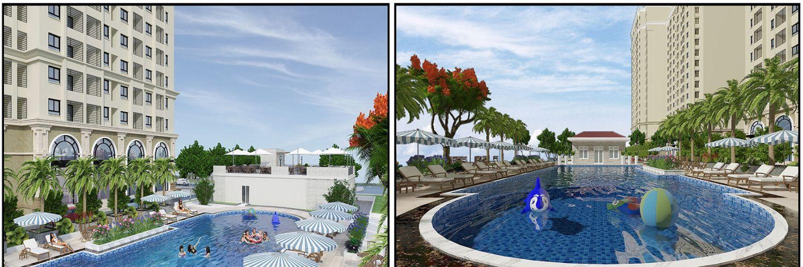 Tiện ích bể bơi ngoài trời tại dự án Ruby CT3 Long Biên