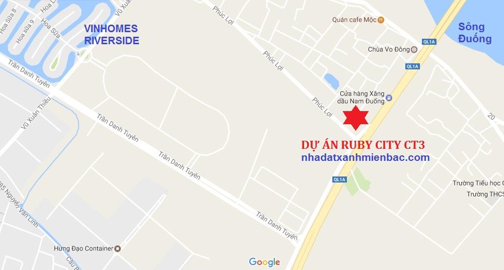 Vị trí đắc địa Dự án Ruby City CT3 Long Biên