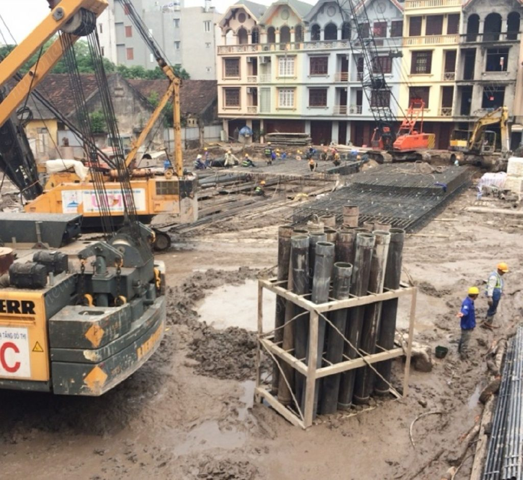 Đảm bảo tiến độ thi công hầm móng công trình HD Mon Central 29 Láng Hạ