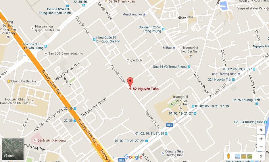 vị trí trung tâm quận thanh xuân của Thống Nhất complex