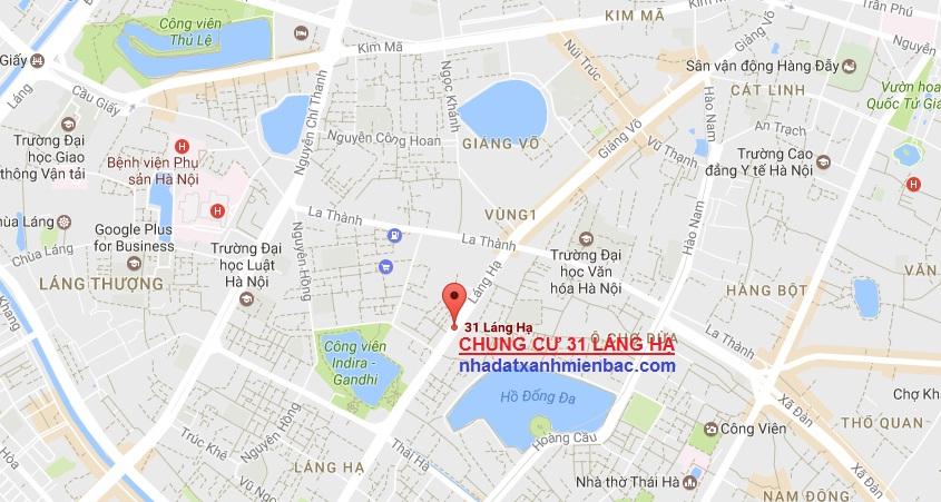Vị trí đắc địa nằm giữa 5 hồ nước lớn của chung cư 31 Láng Hạ