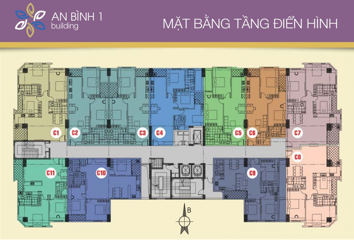 Mặt bằng điển hình tầng căn hộ Chung cư An Bình 1 Định Công