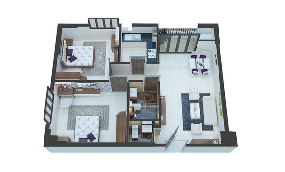 Phối cảnh căn hộ A2 - A9 tòa C2 chung cư C1 C2 Xuân Đỉnh