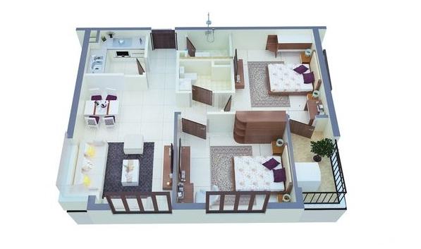 Phối cảnh căn hộ C4 - C5 - C6 - C7 tòa C2 chung cư C1 C2 Xuân Đỉnh