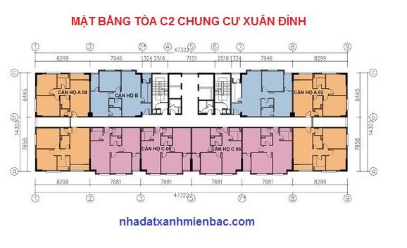 Mặt bằng điển hình tòa C2 chung cư C1 C2 Xuân Đỉnh