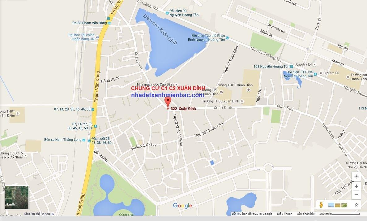 Vị trí trung tâm với kết nối khu vực thuận lợi của Chung cư C1 C2 Xuân Đỉnh