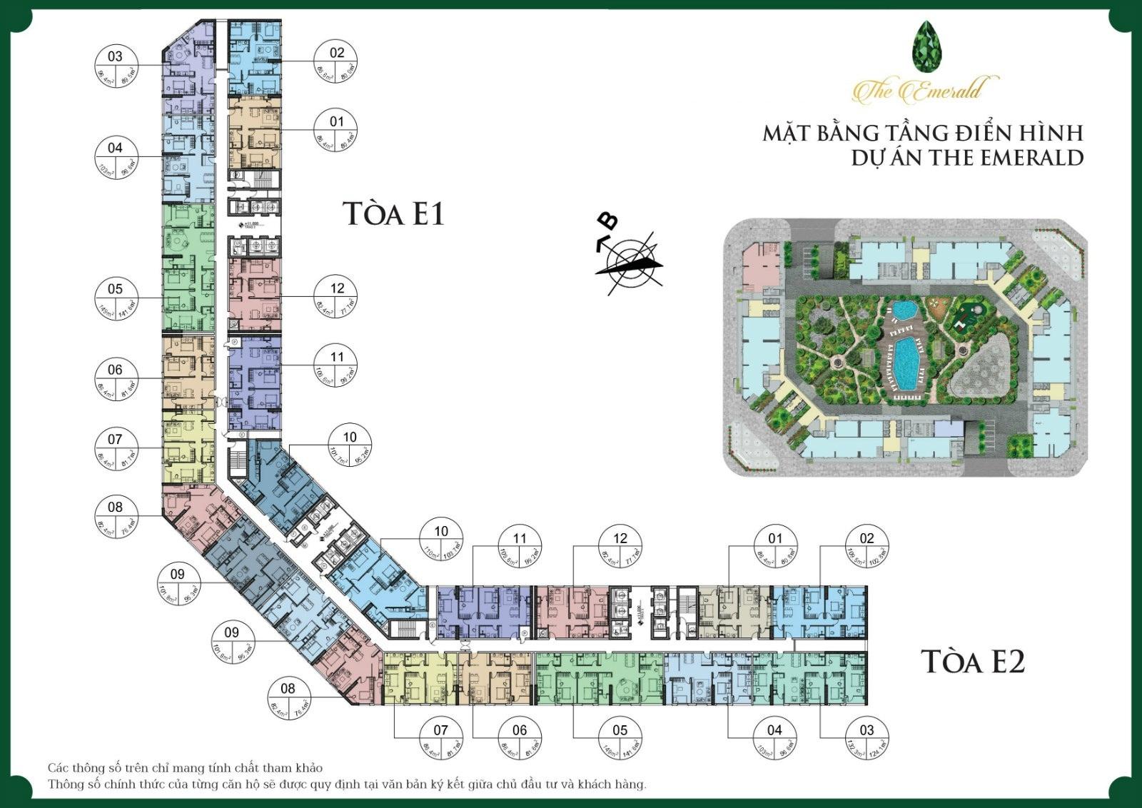 Mặt bằng E1 E2 Chung cư Emerald Center Park CT8 Mỹ Đình