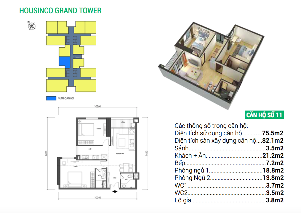 Căn hộ số 11 dự án chung cư Housinco Grand Tower