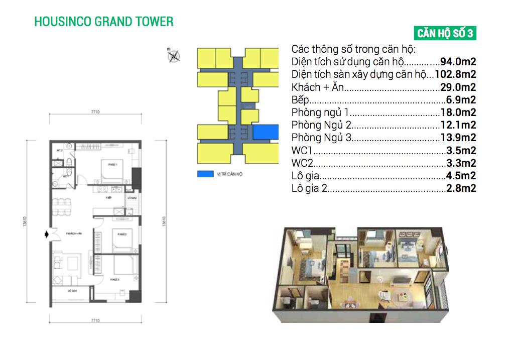 Căn hộ số 3 dự án chung cư Housinco Grand Tower