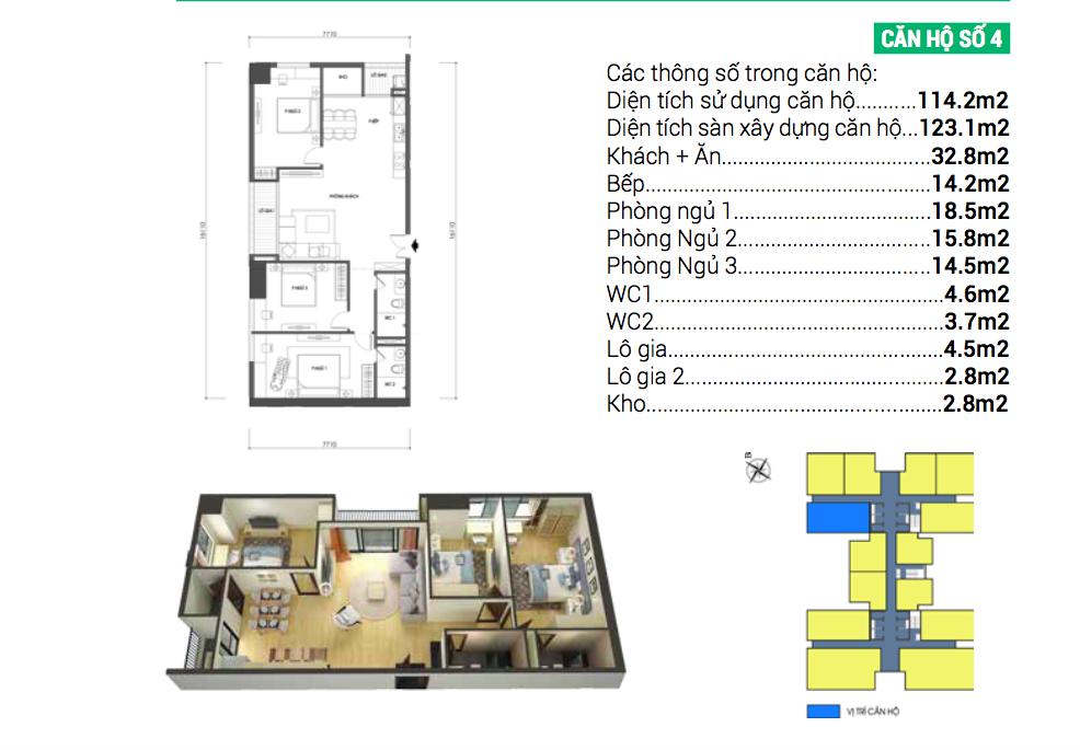 Căn hộ số 4 dự án chung cư Housinco Grand Tower