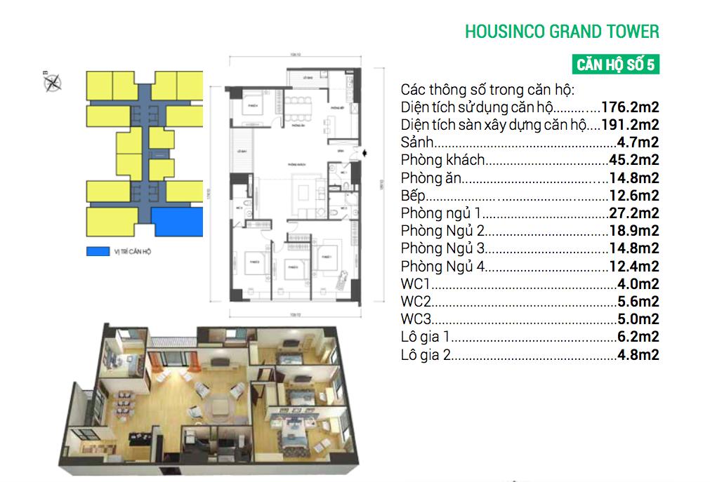 Căn hộ số 5 dự án chung cư Housinco Grand Tower