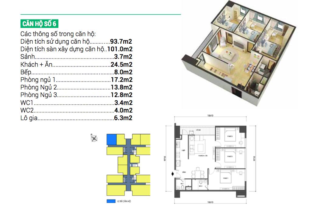 Căn hộ số 6 dự án chung cư Housinco Grand Tower