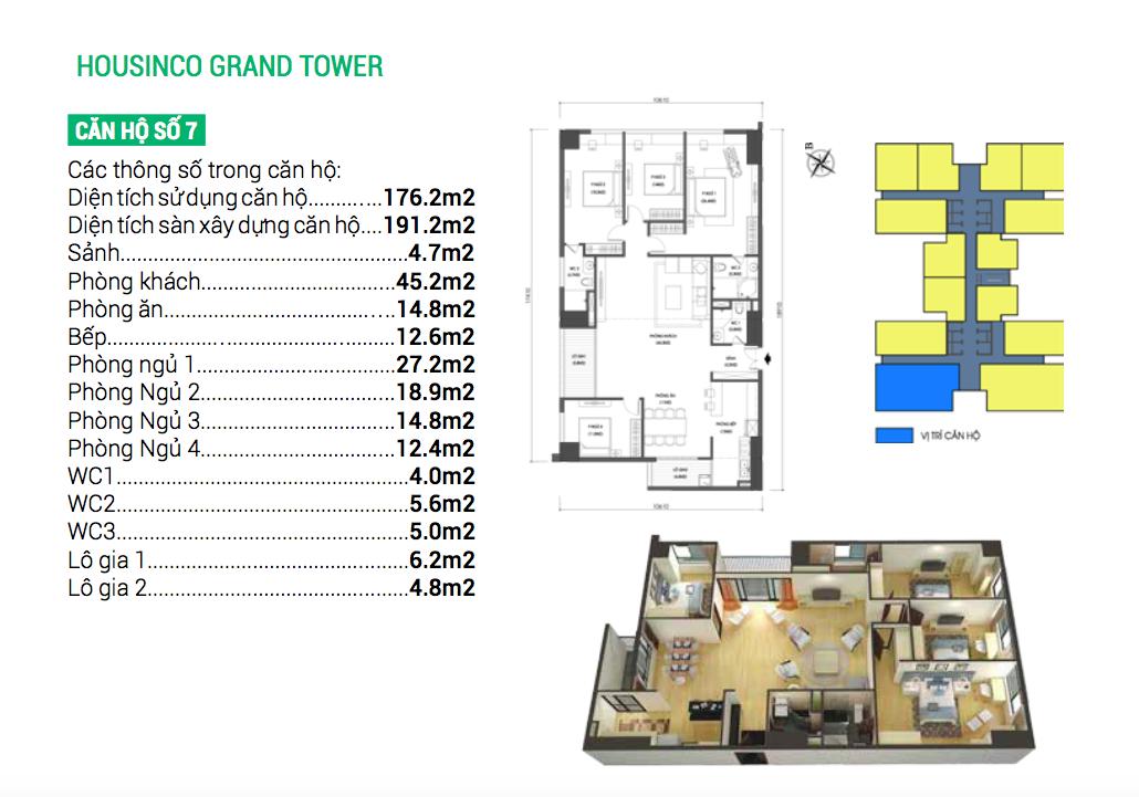 Căn hộ số 7 dự án chung cư Housinco Grand Tower