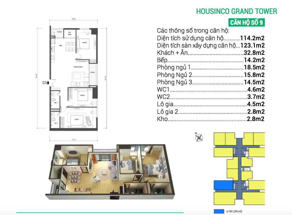 Căn hộ số 9 dự án chung cư Housinco Grand Tower