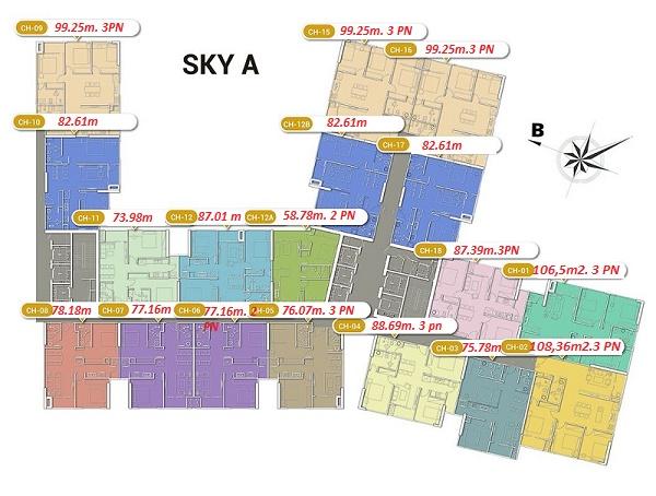 Mặt bằng Tòa Sky A chung cư Imperia Sky Garden 423 Minh Khai