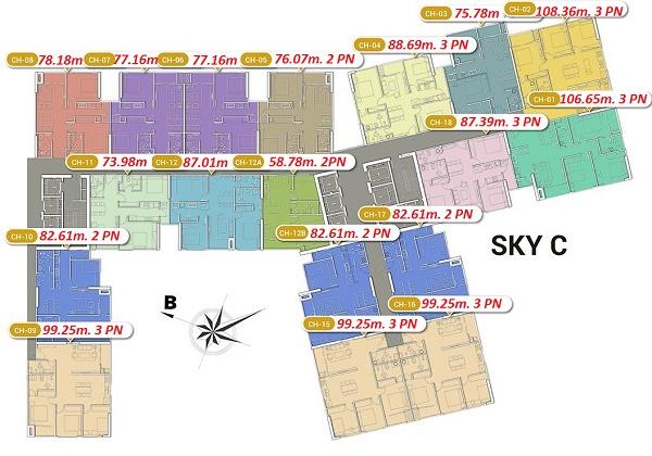 Mặt bằng Tòa Sky C chung cư Imperia Sky Garden 423 Minh Khai