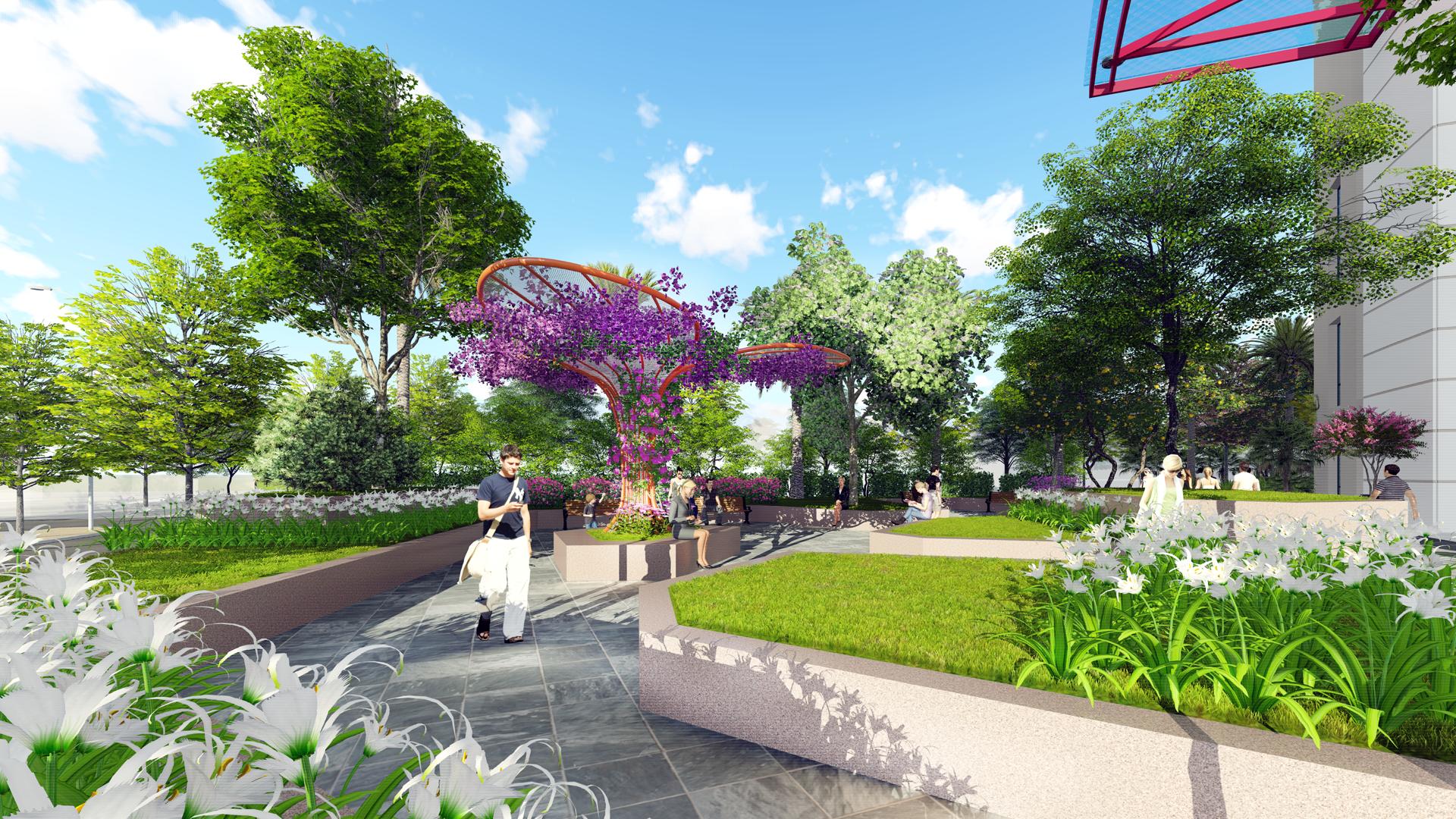 Bao bọc dự án 360 Giải Phóng là những mảng cỏ cây xanh ngắt, mặt nước mát lành