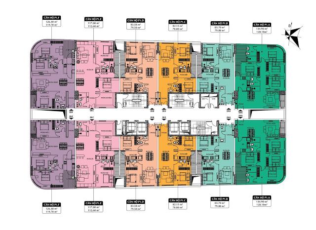 Mặt bằng tầng căn hộ tòa P1 Dự án 360 Giải Phóng