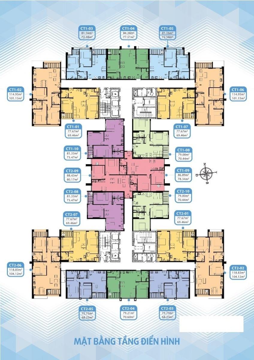 Mặt bằng điển hình Chung cư Mỹ Đình Plaza 2 PCC1