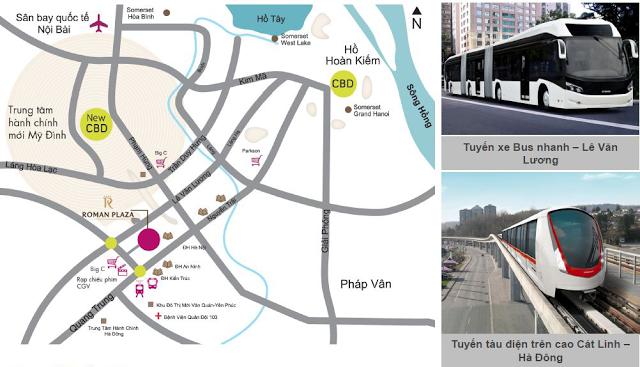 Nhiều loại hình giao thông kết nối Chung cư Roman Hải Phát với Trung tâm Hà Nội