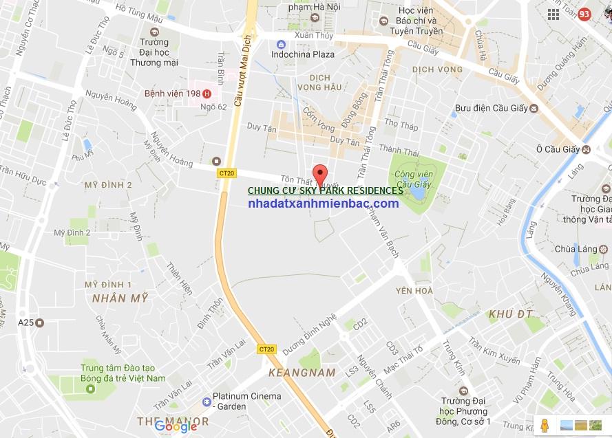 Vị trí tọa độ Vàng án ngữ 3 quận sầm uất Nam Bắc Từ Liêm và Cầu Giấy của Chung cư Sky Park Residences