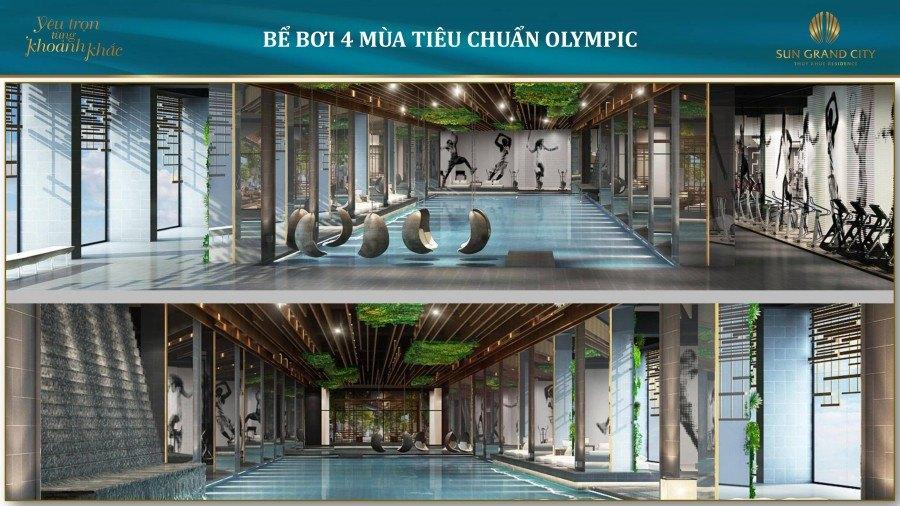 Bể bơi 4 mùa tiêu chuẩn Olimpic tại Chung cư hạng sang Sun Grand City