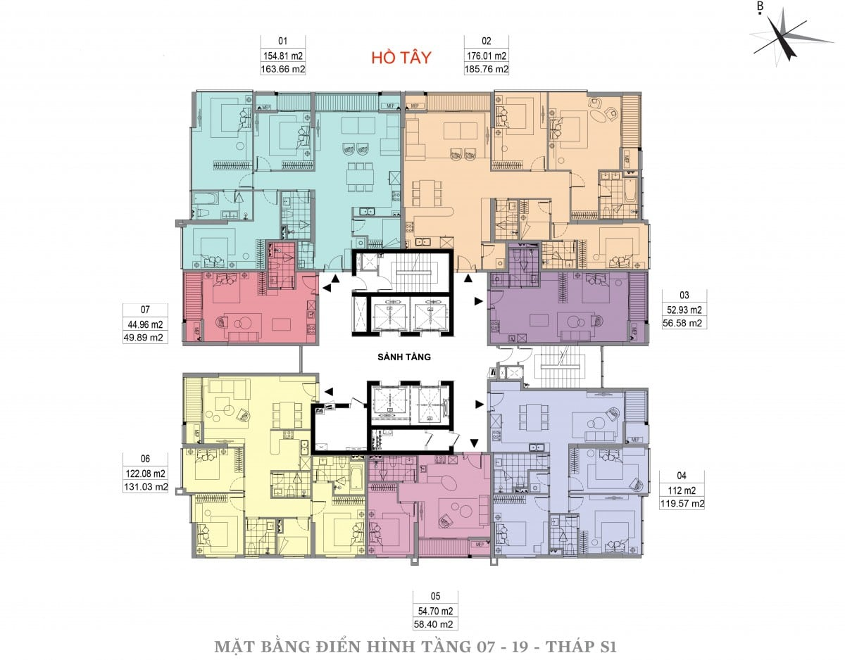 Mặt bằng điển hình tầng 07 - 19 - Tháp S1