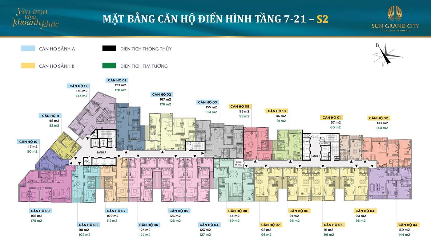 Mặt bằng điển hình Tòa S2 Dự án Chung cư hạng sang Sun Grand City