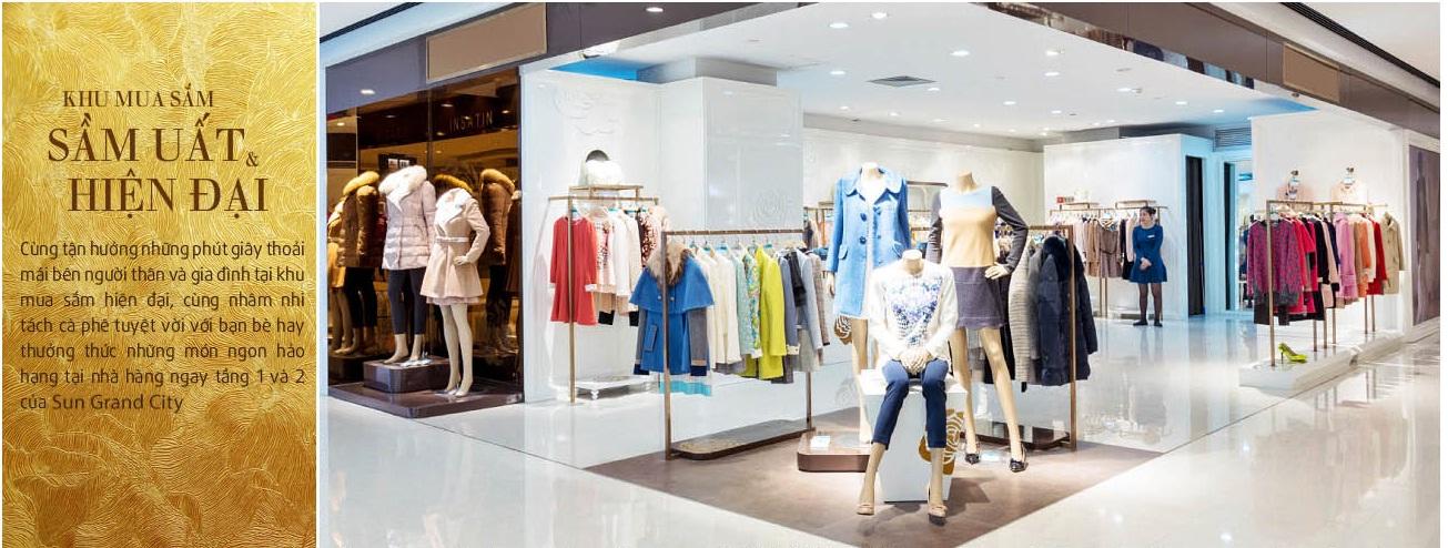 Khu mua sắm với nhiều thương hiệu nổi tiếng tại Chung cư hạng sang Sun Grand City