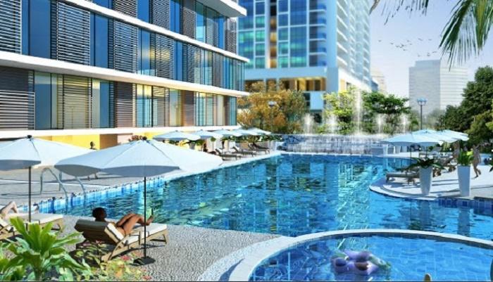 Bể bơi ngoài trời dự án chung cư Sunshine Center Mai Trang Tower