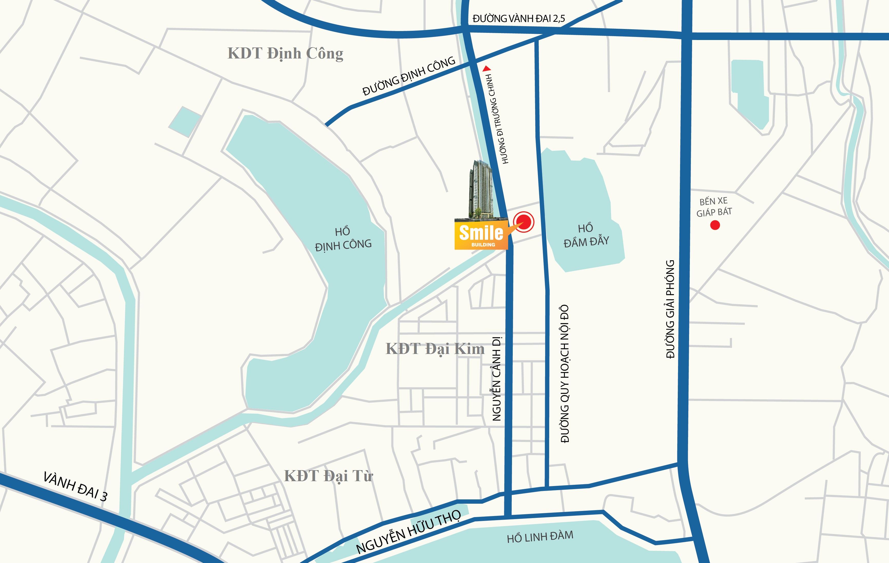 Vị trí Trung tâm của Chung cư Trung Yên Smile Building Định Công